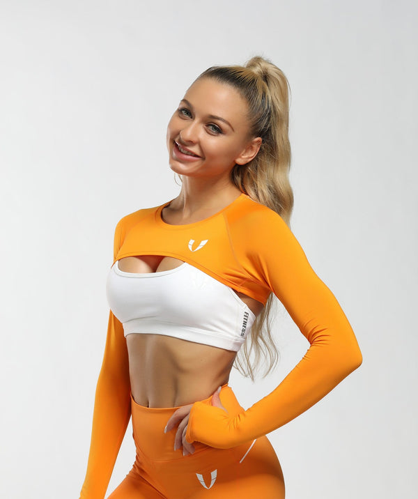 Long Sleeve Extreme Crop Top - Orange - Firm Abs Fitness