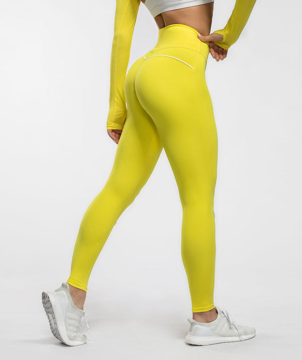 Honeypeach Vital Leggings -Yellow - Firm Abs Fitness