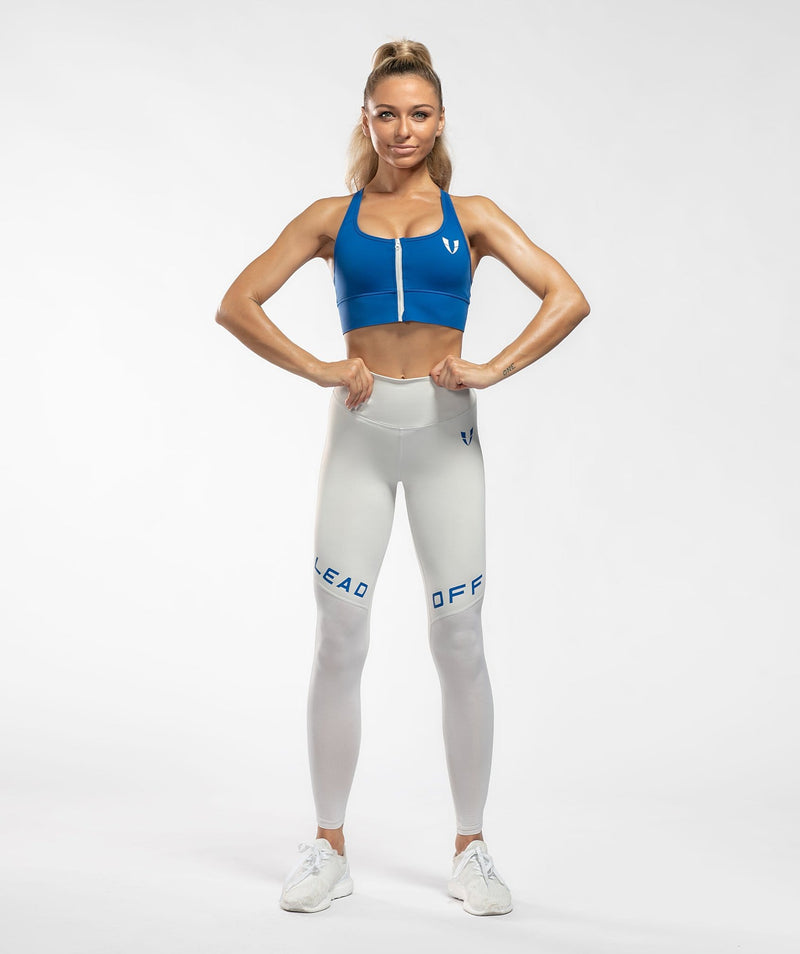 Zip Up Sports Bra - Blue - Firm Abs Fitness