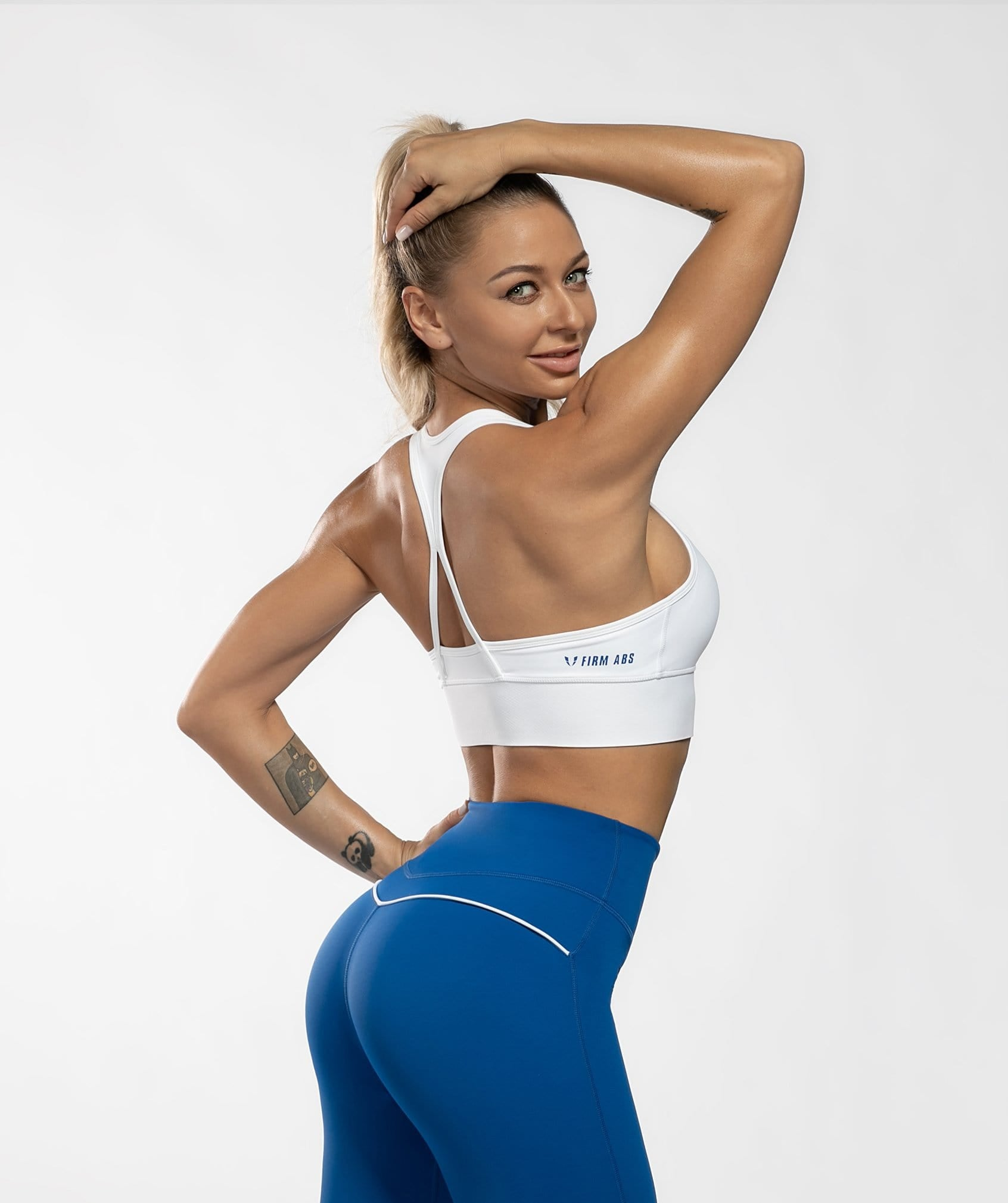 Zip Up Sports Bra - White - Firm Abs Fitness