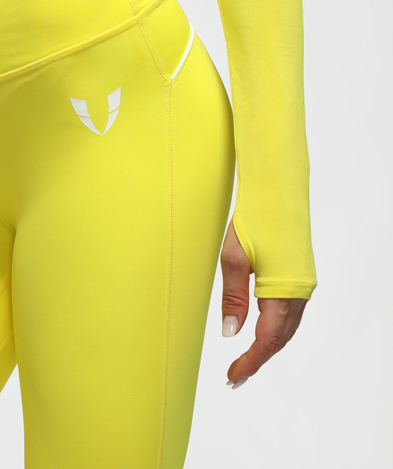 Long Sleeve Extreme Crop Top - Yellow - Firm Abs Fitness