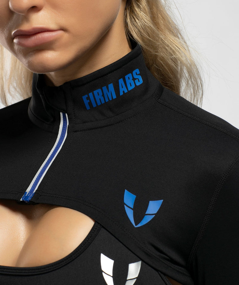 Zip Up Long Sleeve Extreme Crop Top -Black - Firm Abs Fitness