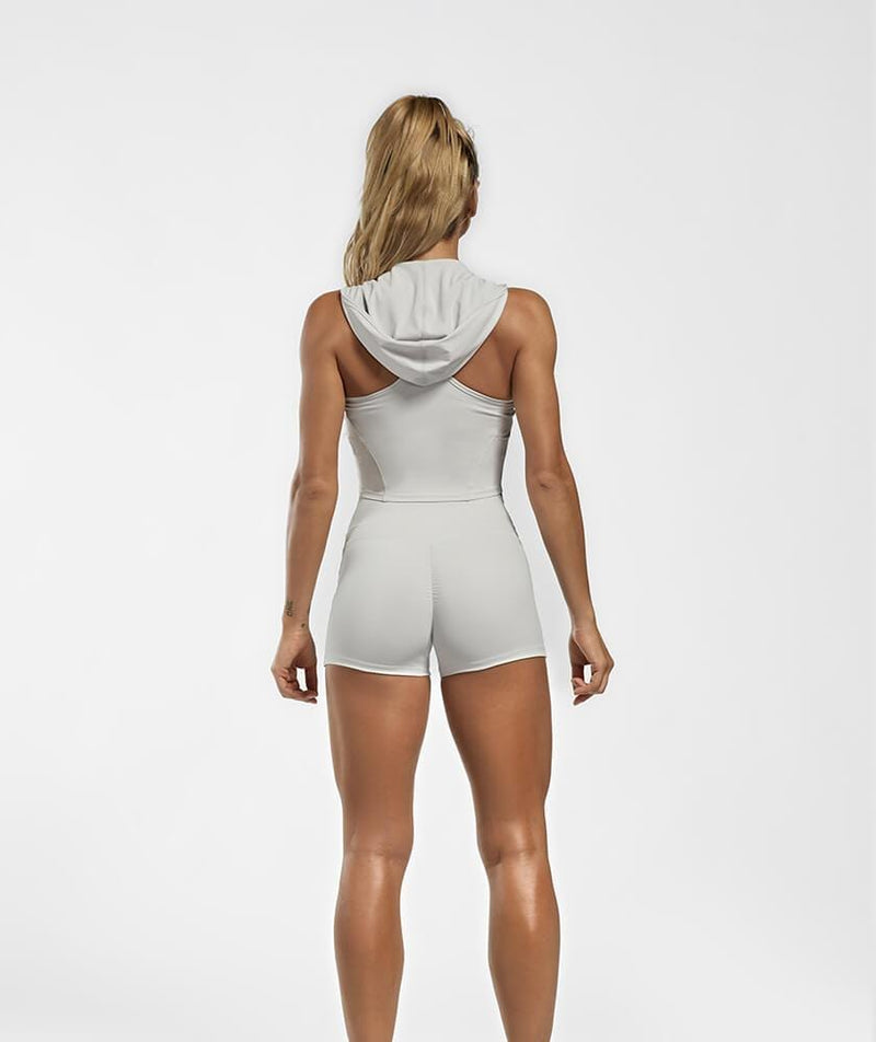 Hooded Zip Vest - Gray - Firm Abs Fitness