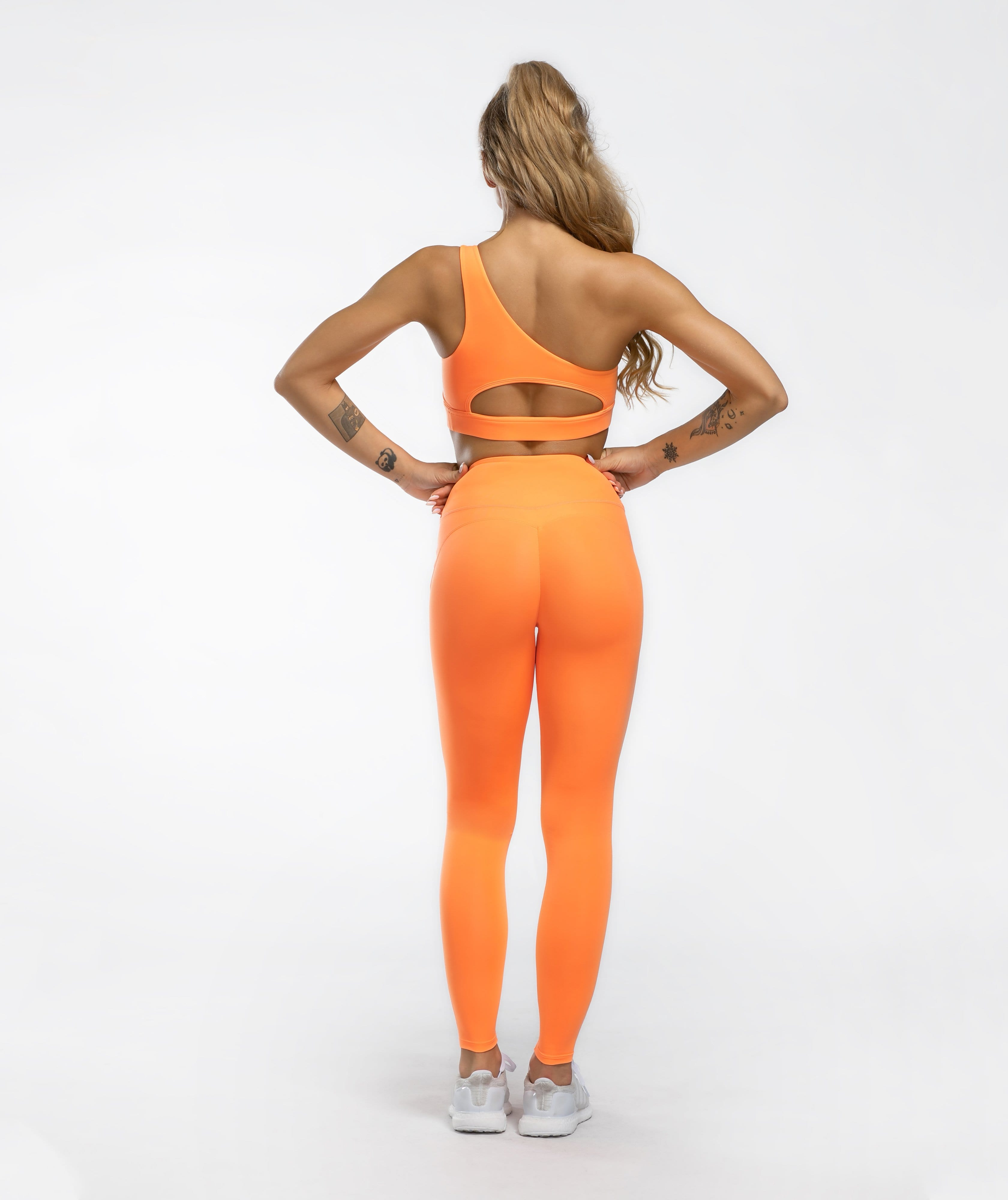 Honeypeach Sculpt Leggings - Orange - Firm Abs Fitness
