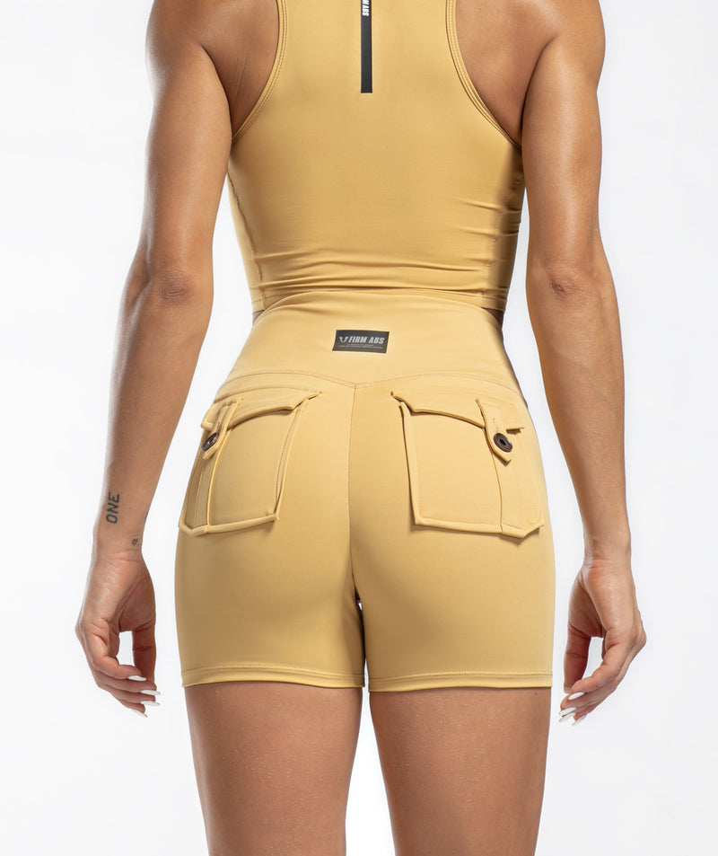 Cargo V Waist Shorts - Khaki - Firm Abs Fitness