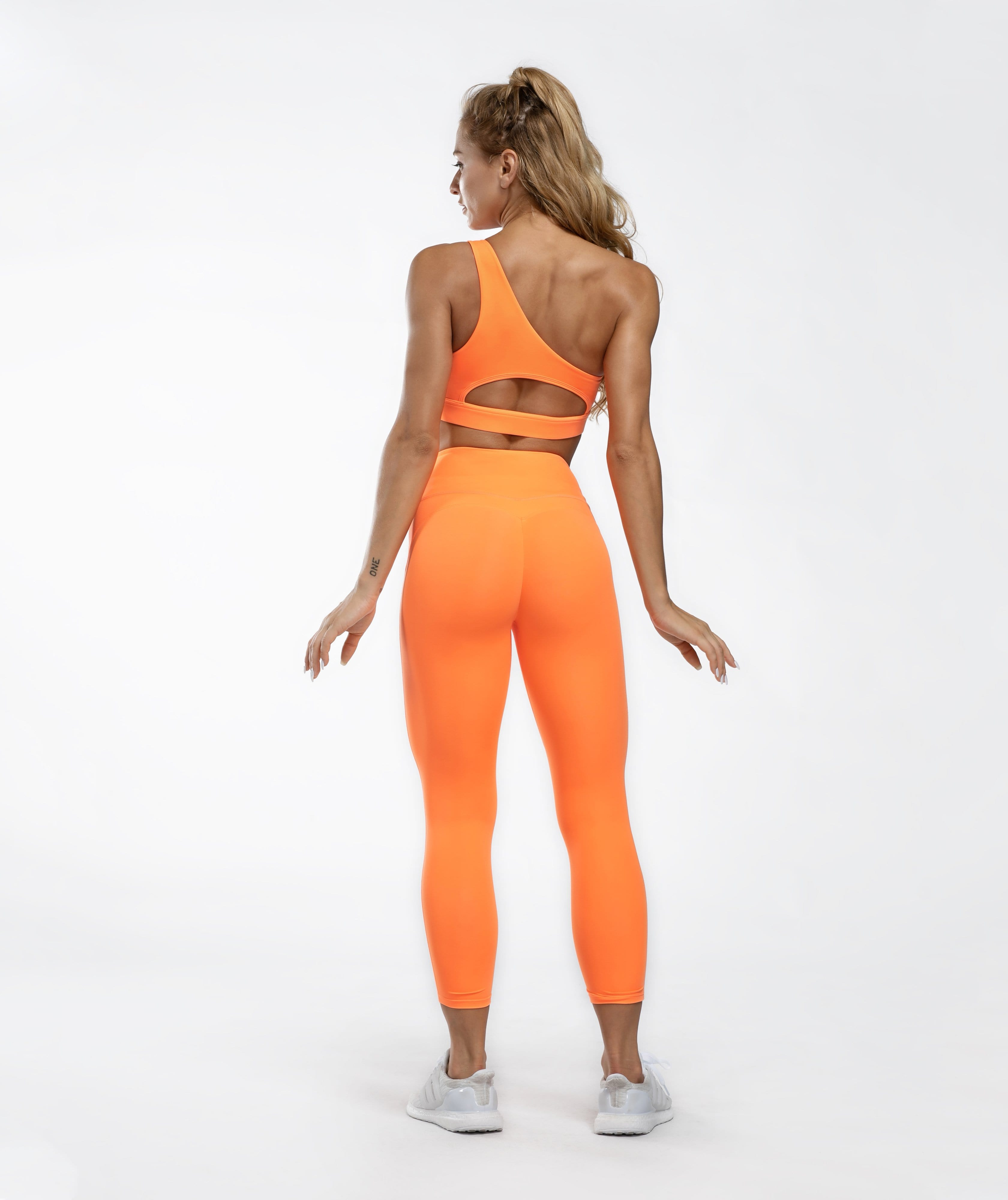 Honeypeach Cropped Leggings - Orange - Firm Abs Fitness