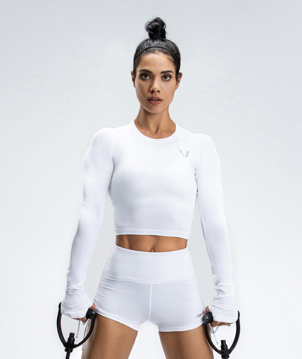 Lightweight Workout Cropped Top - White - Firm Abs Fitness