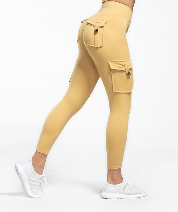 Cargo V Waist Cropped Leggings - Khaki - Firm Abs Fitness