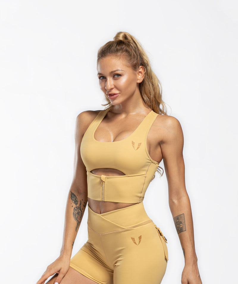 Scoop neck Sports Bra - Khaki - Firm Abs Fitness