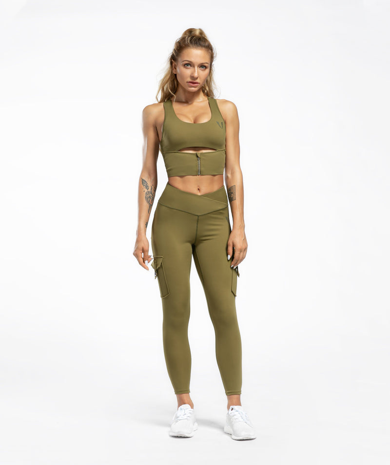 Cargo V Waist Cropped Leggings - Green - Firm Abs Fitness