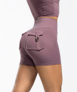 Cargo V Waist Shorts - Purple - Firm Abs Fitness