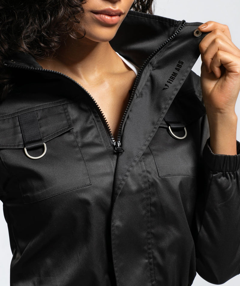 Cargo Utility Track Jacket - Black - Firm Abs Fitness