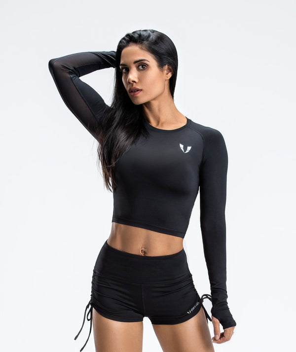 Lightweight Workout Cropped Top - Black - Firm Abs Fitness