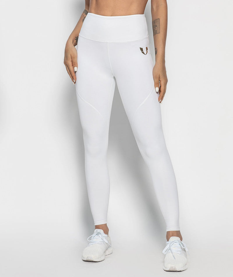 Athleisure Zip Leggings - White - Firm Abs Fitness