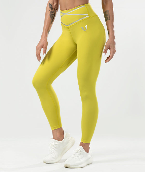 Pulse High Waisted Leggings - Yellow - Firm Abs Fitness