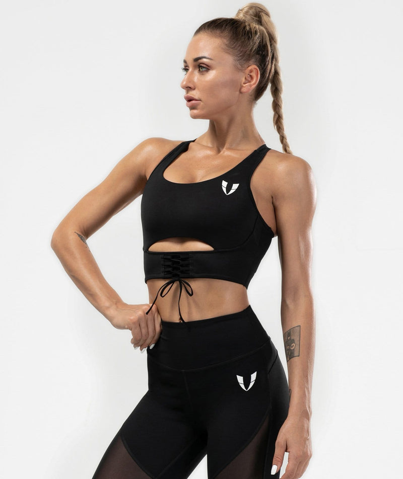 Mesh Back Sports Bra - Black - Firm Abs Fitness