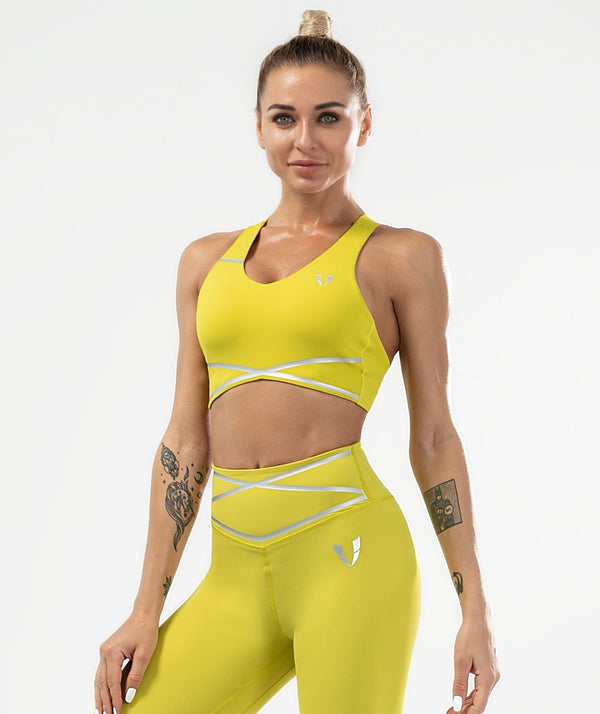 Pulse Sports Bra - Yellow - Firm Abs Fitness