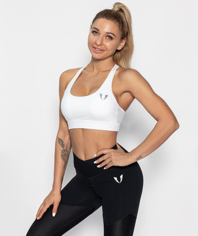 Mesh Racer Back Sports Bra - White - Firm Abs Fitness