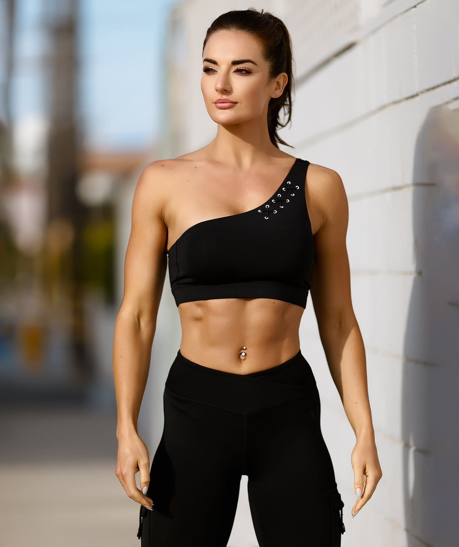 Honeypeach One-Shoulder Bra - Black - Firm Abs Fitness