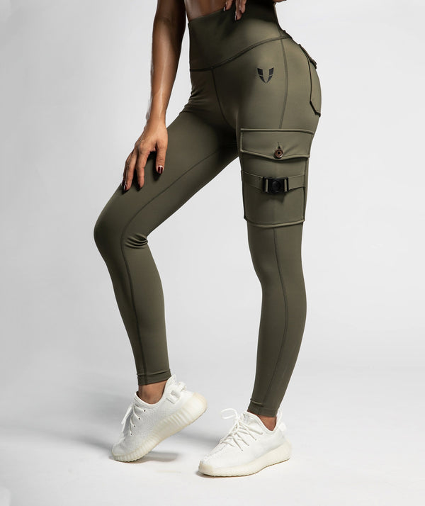 Cargo Fitness Leggings - Olive - Firm Abs Fitness