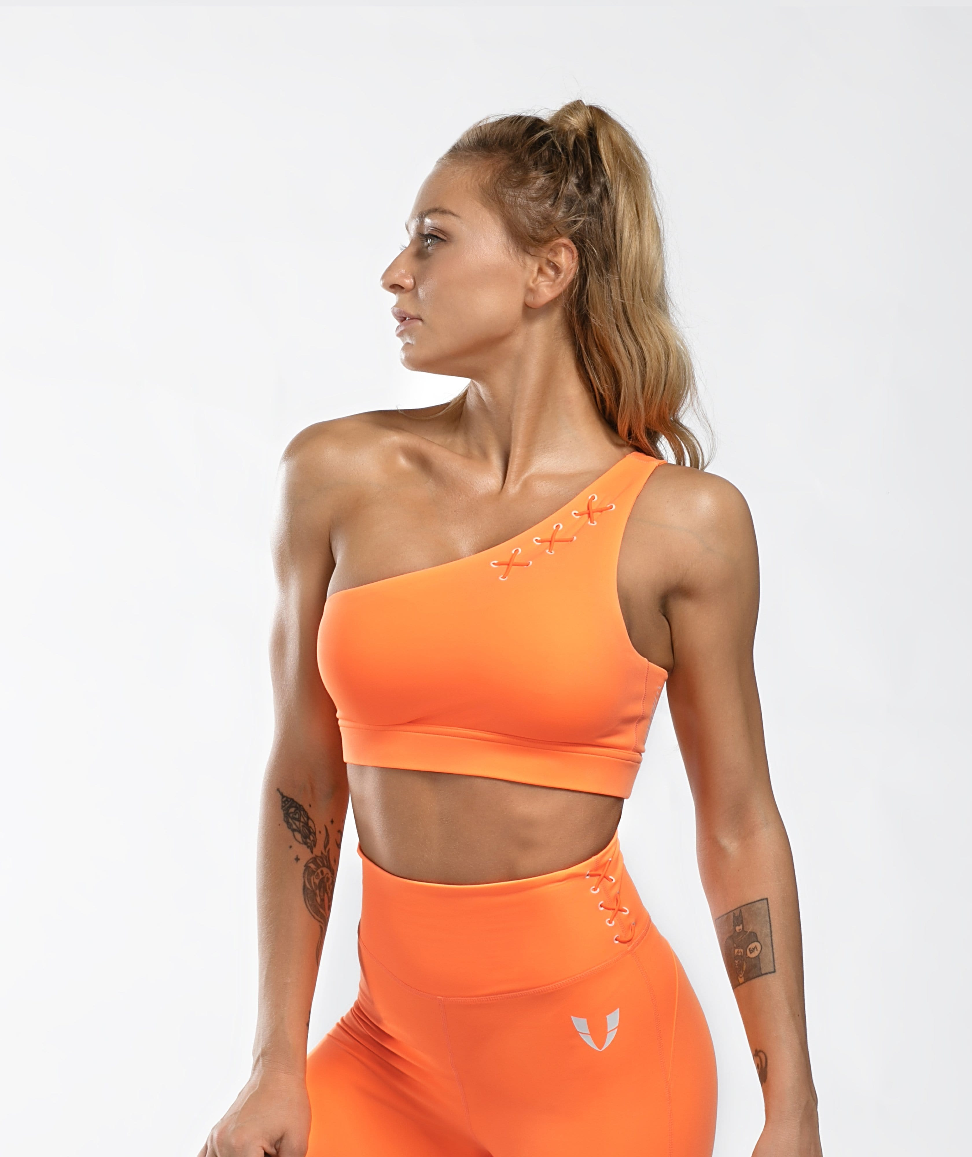 Honeypeach One-Shoulder Bra - Orange - Firm Abs Fitness