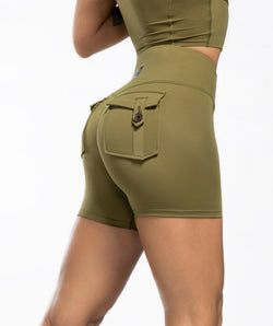 Cargo V Waist Shorts - Green - Firm Abs Fitness