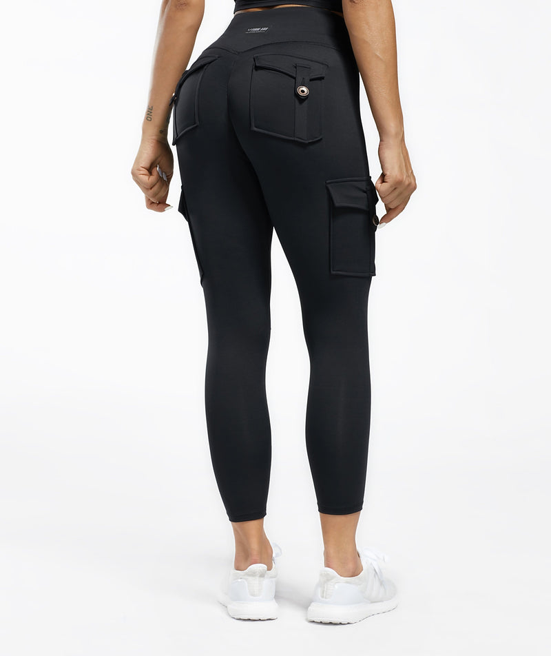 Cargo V Waist Cropped Leggings - Black - Firm Abs Fitness