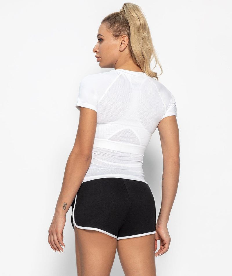 Mesh Back T-shirt - White - Firm Abs Fitness