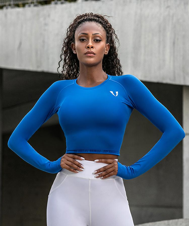 Firmabs Cropped Long Sleeve Shirt - Blue - Firm Abs Fitness