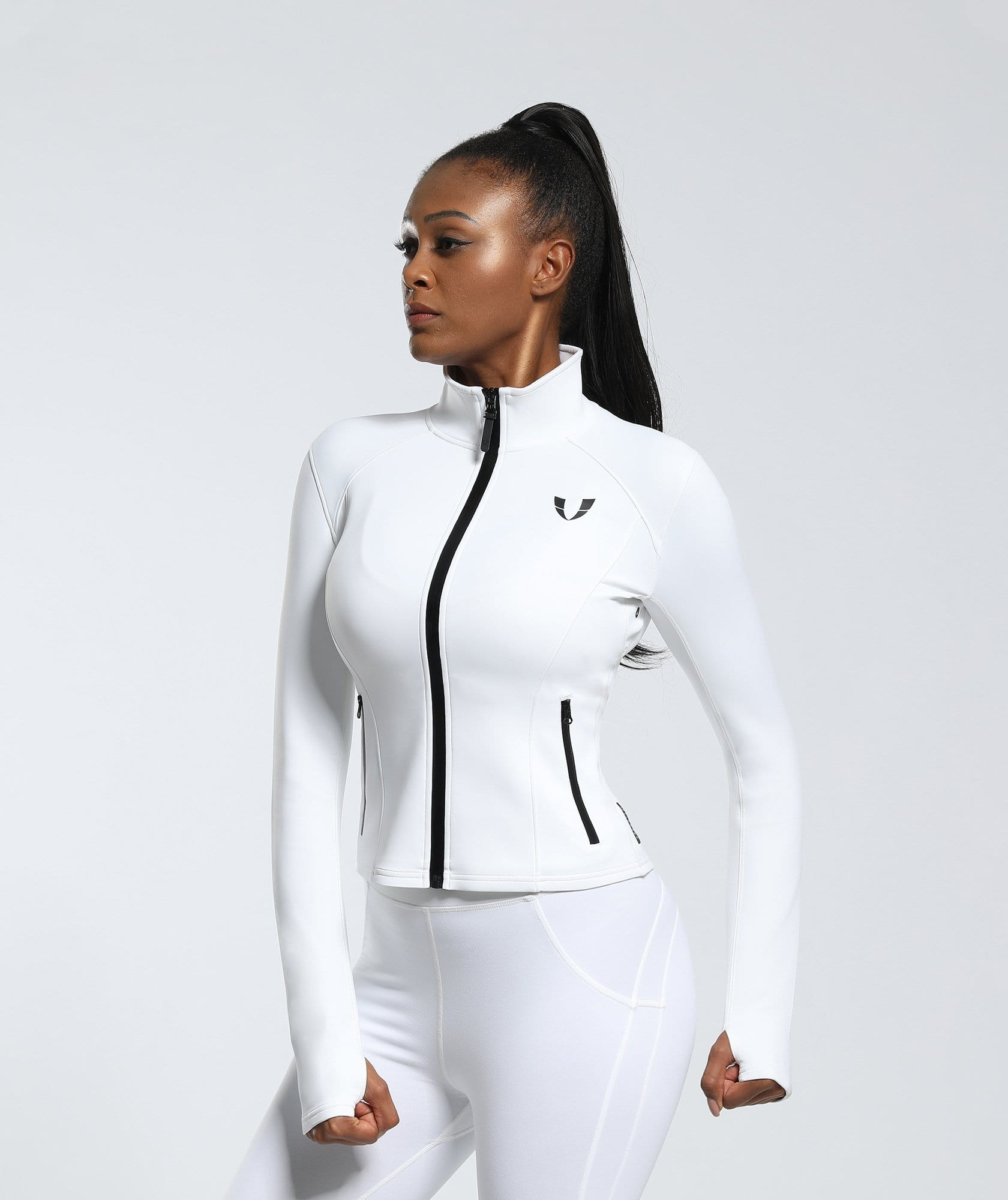 Speed Zip Jacket - White - Firm Abs Fitness