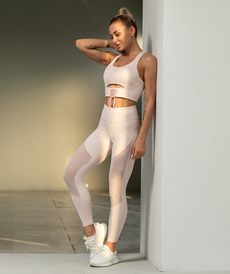 Mesh Training Leggings - Light Pink - Firm Abs Fitness