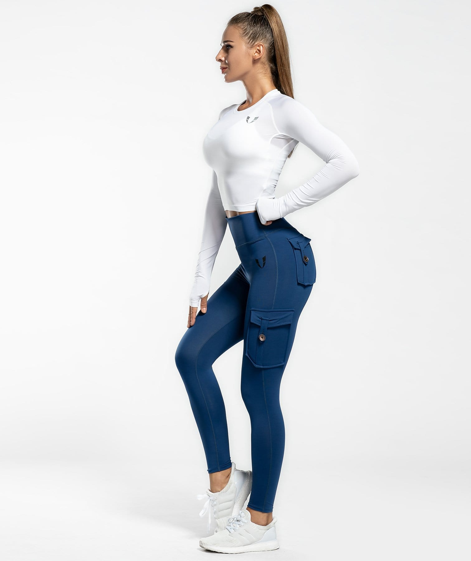 Cargo Ankle Length Leggings - Dark Blue - Firm Abs Fitness