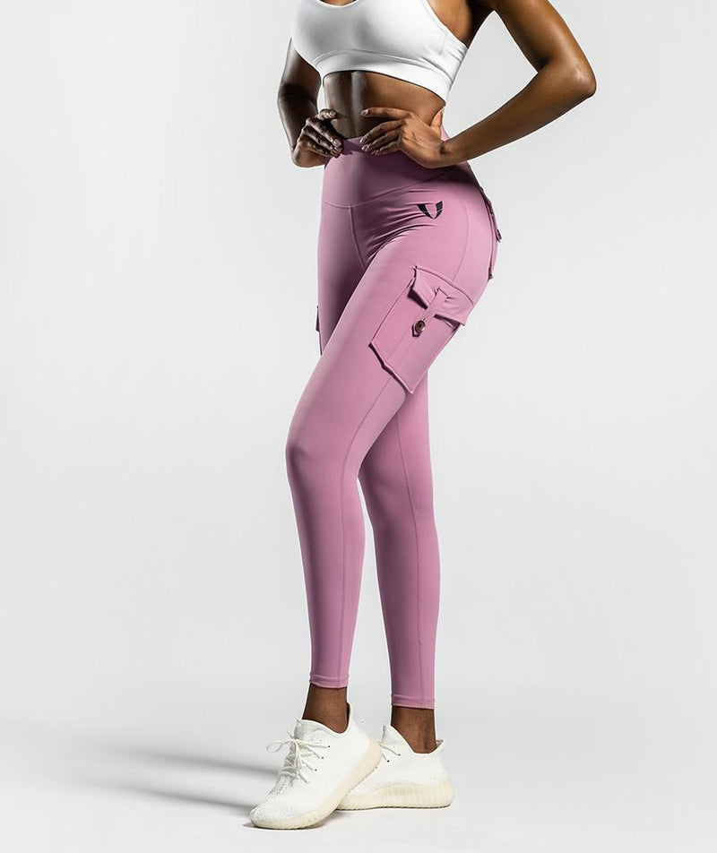 Cargo Pockets Leggings - Pink - Firm Abs Fitness
