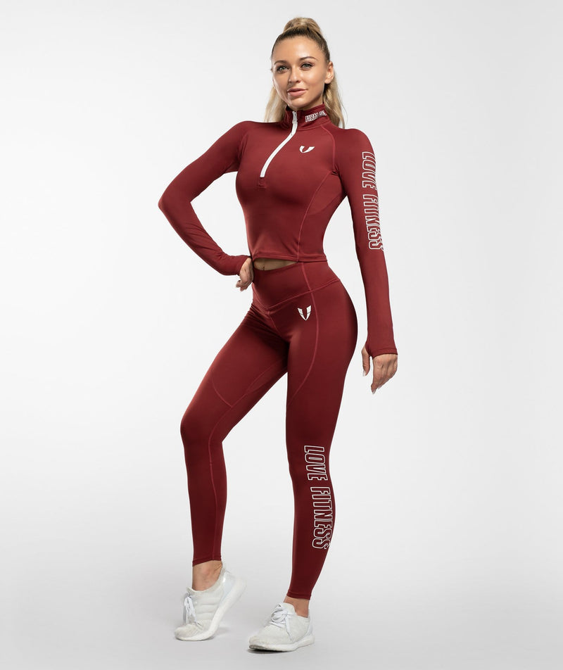 Swift 1/2 Zip Long Sleeve - Red - Firm Abs Fitness