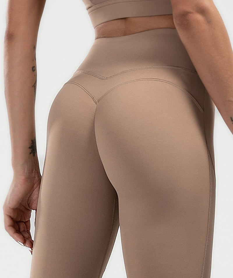 Mesh Training Leggings - Coffee - Firm Abs Fitness