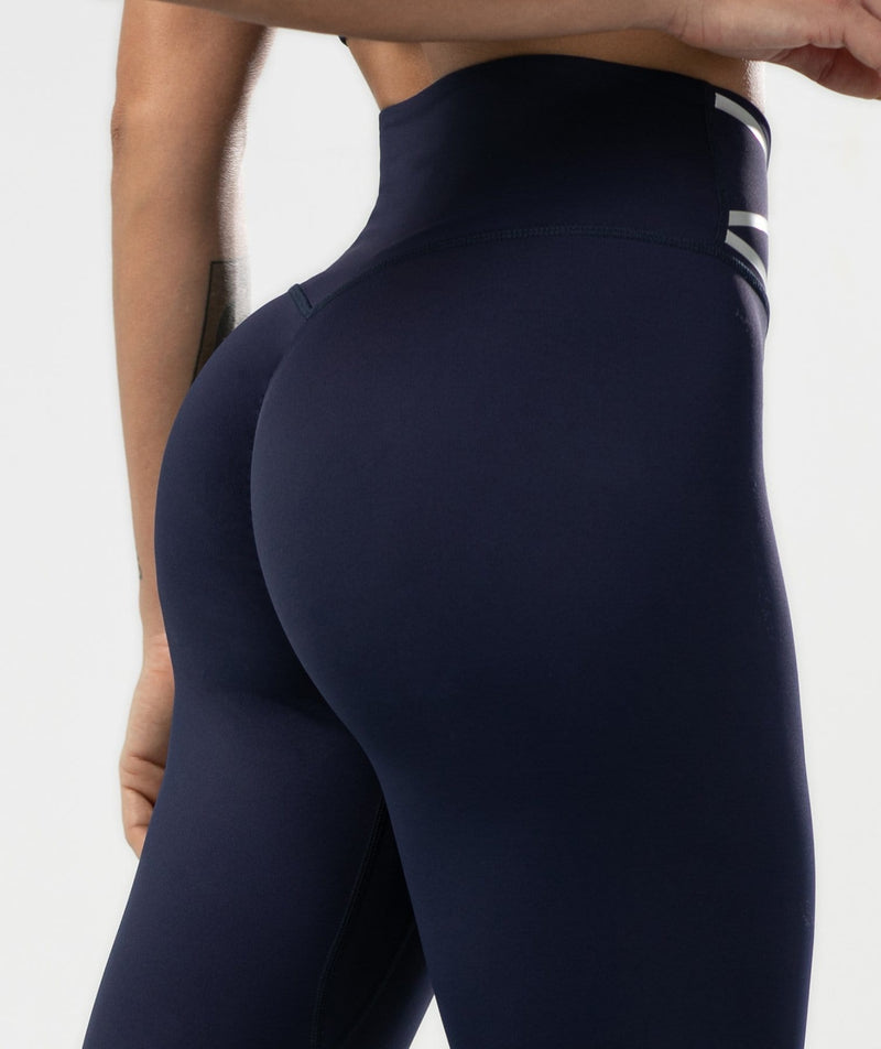 Pulse High Waisted Leggings - Dark Blue - Firm Abs Fitness