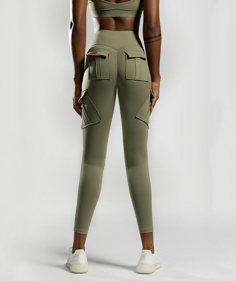 Solo Cargo Leggings - Khaki - Firm Abs Fitness