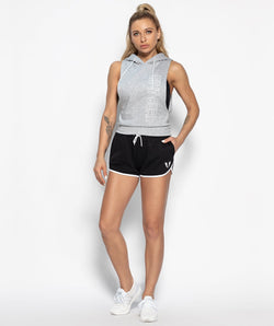 Hooded Drop Armhole Tank - Gray - Firm Abs Fitness