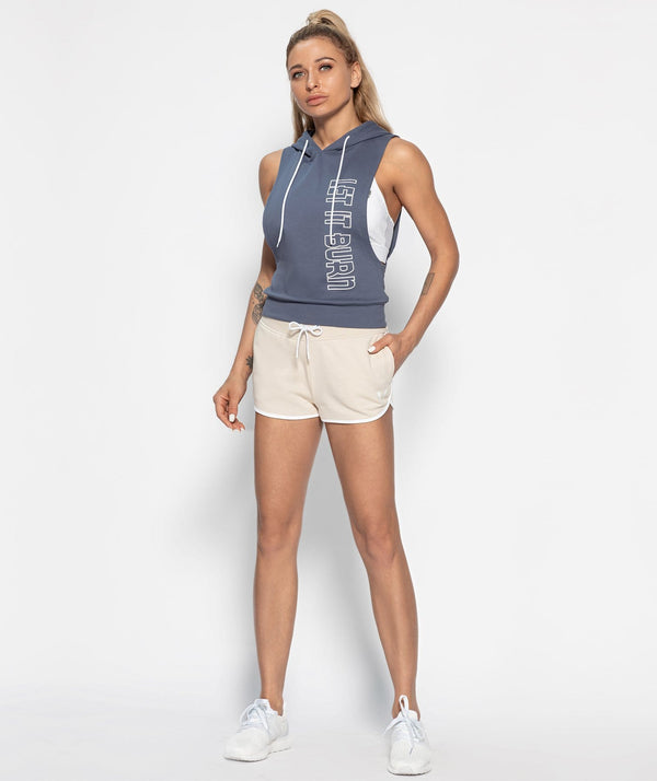 Hooded Drop Armhole Tank - Stone Blue - Firm Abs Fitness