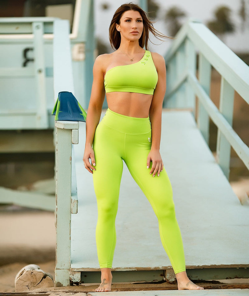 Honeypeach One-Shoulder Bra - Green - Firm Abs Fitness
