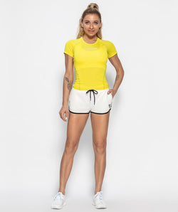 Mesh Back T-shirt - Yellow - Firm Abs Fitness