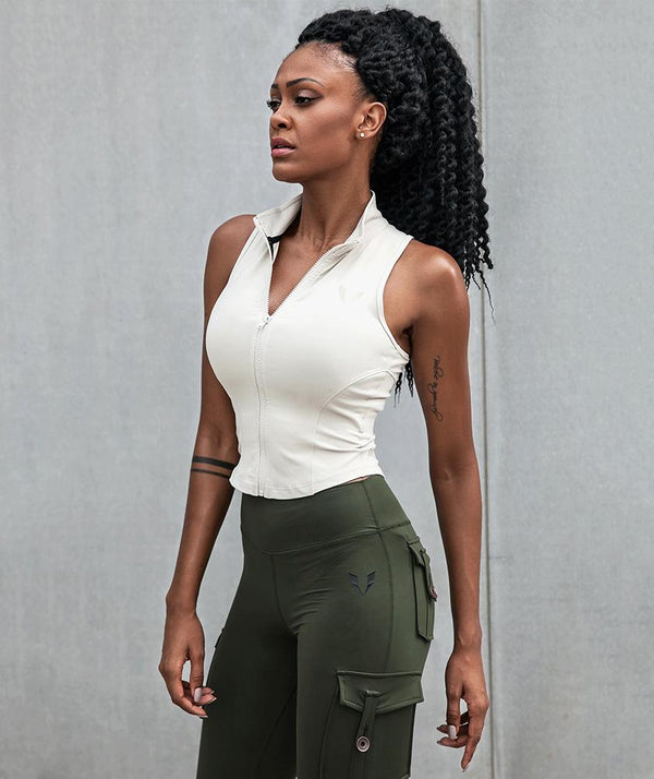 Zip Tank Top - Khaki - Firm Abs Fitness
