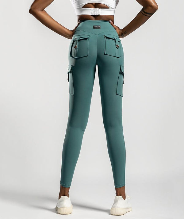Cargo Pockets Leggings - Dark Green - Firm Abs Fitness