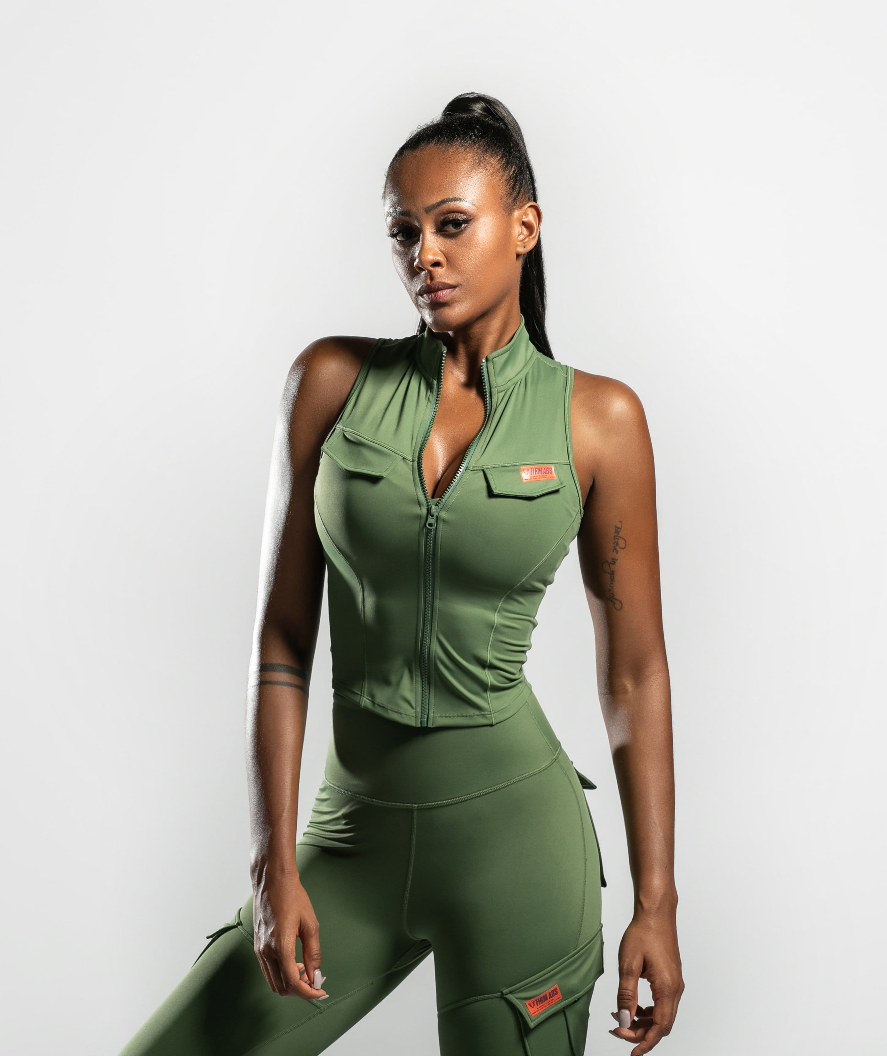 Army Abs Tank - Spring Green - Firm Abs Fitness