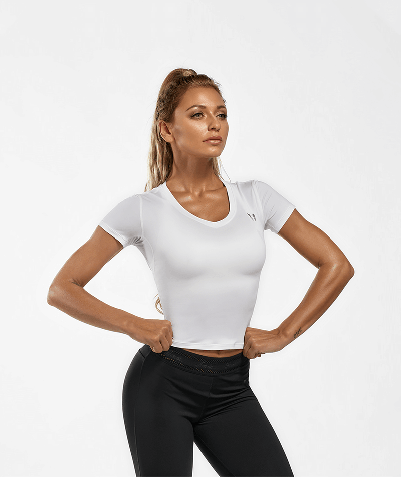 Firmabs V Neck Basic T-shirt - White - Firm Abs Fitness