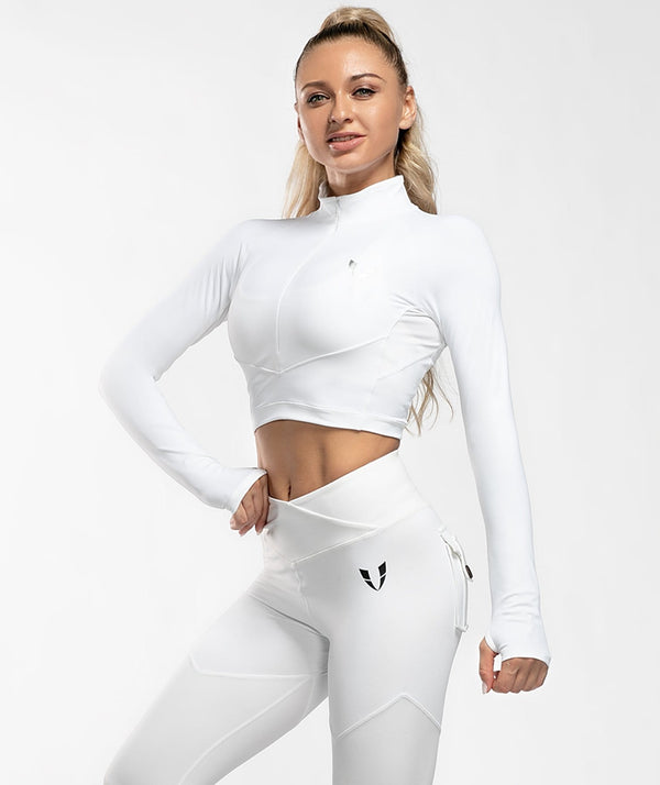 Zip Cropped Long Sleeve - White - Firm Abs Fitness