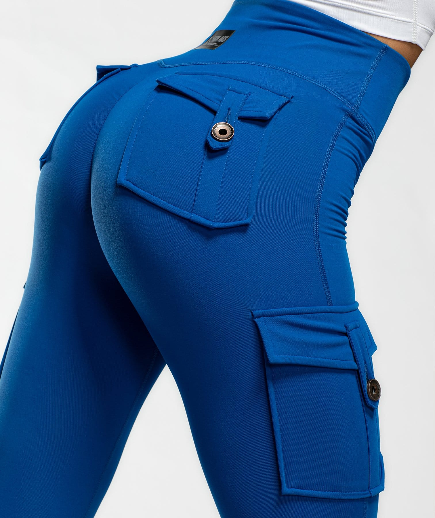 Cargo Ankle Length Leggings - Blue - Firm Abs Fitness