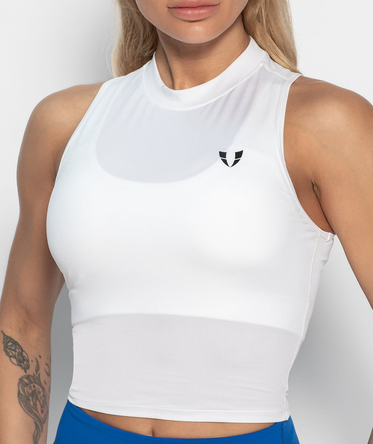 High Neck Vest - White - Firm Abs Fitness
