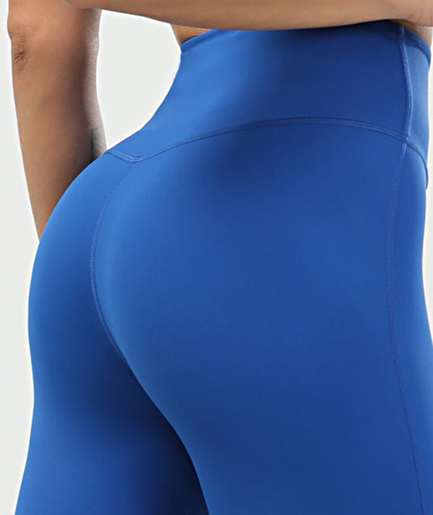 Tummy Control Cropped Leggings - Blue - Firm Abs Fitness