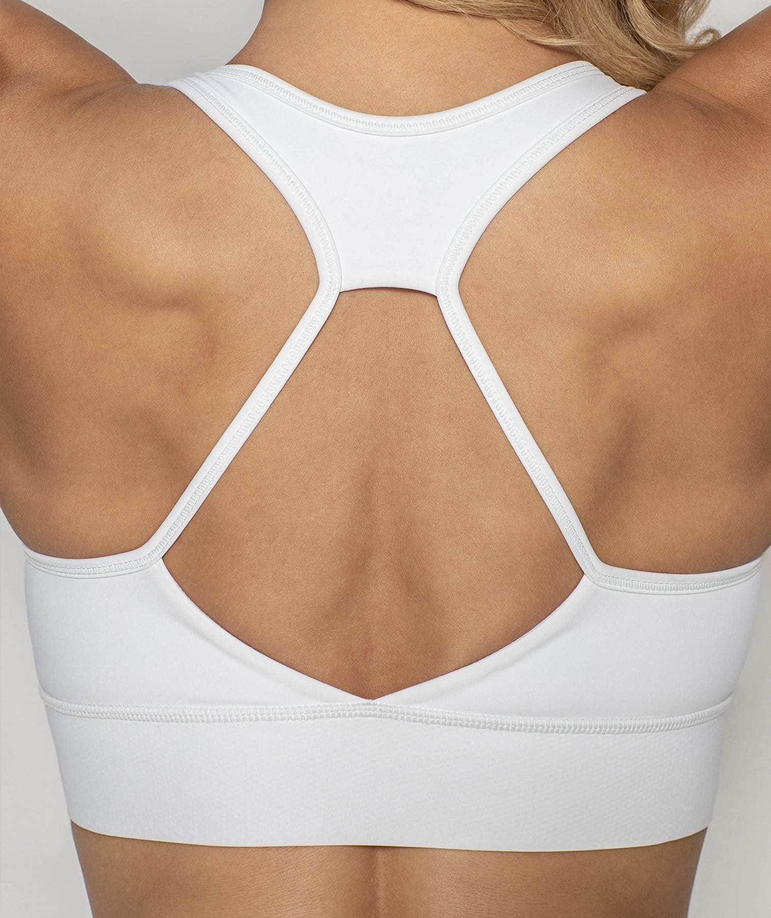 X-power Zip Up Sports Bra - White - Firm Abs Fitness